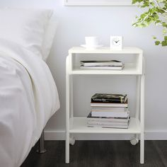 IKEA - SETSKOG, Nightstand, white, , Easy to move since the bedside table has casters.Simply roll the nightstand out of the way when you want to transform your daybed into a larger bed or get to things stored under the bed. White Furniture, Home Decor Furniture, Home Furnishings, Bedroom Furniture, Ikea Series, White Nightstand, Large Beds, Ikea Us, Comfy Bed