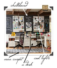chalkboard wall & all kinds of other goodies via funky junk interiors