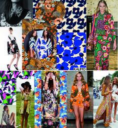 Anos 70 - A macrotêndencia Anos 70 apresenta uma mistura de florais liberty, florais pop, florais estilo Marimeko e patch de flores em cores primarias e quentes que remetem ao movimento Hippie com traços minimalistas.