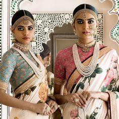 Sabyasachi Spring Couture The Udaipur Collection. Jewellery by Kishandas For Sabyasachi. Photograph by Tarun Khiwal. Lehenga, Sabyasachi Sarees, Khadi Saree, Indian Sarees, Saree Blouse, Anarkali, Indian Bridal Fashion, Indian Bridal Wear, Indian Wear