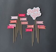 Baby Girl Cake Decorations - Coral and Pink