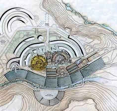 Long before green buildings entered popular vocabulary, futuristic eco-architect Paolo Soleri was pioneering his vision of an entire city -- or arcology -- Architecture Drawings, Architecture Plan, Landscape Architecture, Contemporary Landscape, Urban Landscape, Arcology, Dream City, Design Lab, Urban Design
