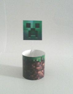Saia e Topper para Cupcake Minecraft