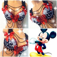 Mickey Mouse Rave Bra by TheLoveShackk on Etsy Edm Festival, Festival Outfits, Festival Fashion, Diy Halloween Costumes For Girls, Rave Gear, Rave Costumes, Kitty Kitty, Costume Design, Burlesque