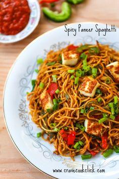 Spicy Paneer Spaghetti Recipe - Crave Cook Click
