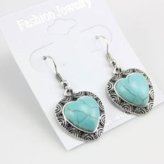 turqoise Earrings For Women | Vintage Silver Natural Turquoise Stone jewelry set ( Necklace+Earrings ...
