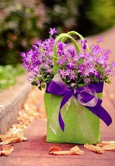 Fill beautiful bag with flowers, wrap with ribbon~ Happy Spring, Birthday, Easter, or just because gift! Fresh Flowers, Purple Flowers, Beautiful Flowers, Lavender Flowers, Wild Flowers, Ikebana, Color Splash, Just Because Gifts, Arte Floral