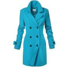 Double Breasted Turquoise Coat ($420) ❤ liked on Polyvore featuring outerwear, coats, blue coat, button coat, turquoise coat, double breasted coat and blue double breasted coat