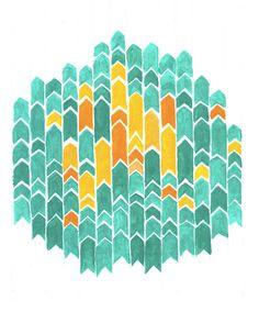 Geometry of Arrows original 9x12 acrylic by DianaWillardDesign