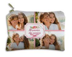Portamonete in stoffa rettangolare stampato con foto e grafica per la festa della mamma