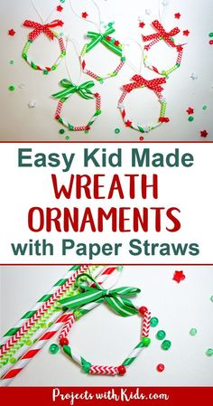 So bright and cheerful these kid made wreath ornaments are the perfect colorful addition to any Christmas tree. An easy and fun Christmas craft for kids of all ages! Also makes a great fine motor skills activity. Preschool Christmas, Easy Christmas Crafts, Christmas Art, Christmas Projects, Simple Christmas, Christmas Themes, Christmas Decorations, Christmas Ornaments, Homemade Decorations