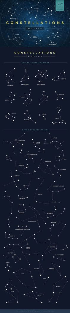 An infographic for constellations. Learn the constellations. Study the constellations with this chart. Cosmos, Constellation Tattoos, Constellation Chart, Space And Astronomy, Astronomy Signs, Milky Way, Science And Nature, Stargazing, Stars And Moon