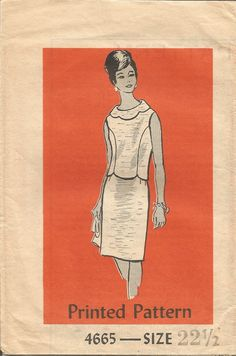Vintage Mail Order Tissue Misses Suit Pattern 4665 Size 22 1/2 circa 1960's by…