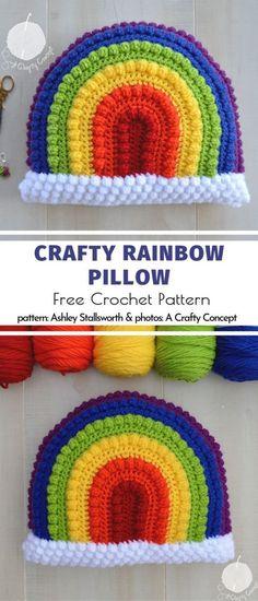 Crafty Rainbow Pillow Free Crochet Pattern Crochet Pillow Cases, Crochet Pillow Patterns Free, Crochet Cushion Cover, Crochet Square Patterns, Crochet Cushions, Crochet Stitches Patterns, Tapestry Crochet, Afghan Patterns, Blanket Crochet