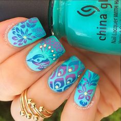 NAIL-ART≺♥ by 'clairestelle8' on IG ♥≻★≺♥GORGEOUS PEACOCK W/TROPICAL VIBE MANI♥≻★≺♥