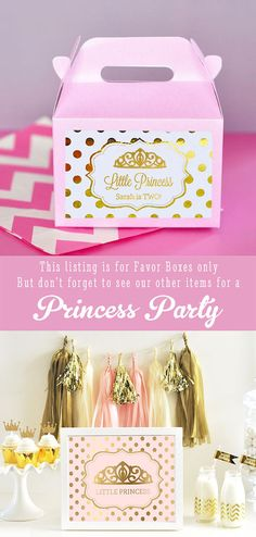 Princesa Party Favor caja favores de la fiesta de por ModParty