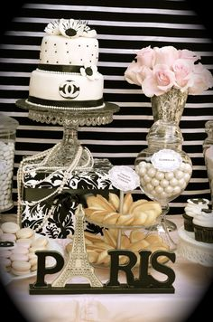Coco Chanel/Parisian Birthday Party Ideas - Chanel Paris - Ideas of Chanel Paris - Coco Chanel Paris Party Parisian Birthday Party, Parisian Party, Paris Birthday Parties, 35th Birthday, Birthday Celebration, Girl Birthday, Parisian Decor, Birthday Ideas, Happy Birthday