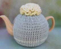 Crochet Tea Cozy, Yellow Carnation