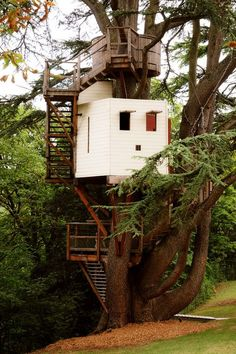 Definitely want a treehouse with a crow's nest at the top for me to spy out into the woods from. #Tree Houses