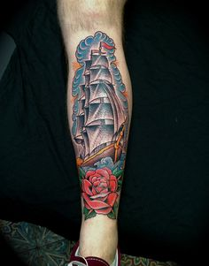 Clipper ship tattoo by Luke Wessman,  done at Wooster Street Social Club, Soho, Nyc