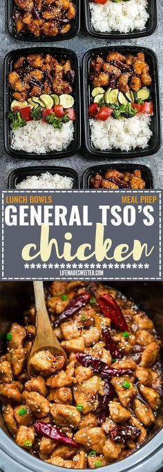 General Tso& Chicken Meal Prep Lunch Bowls - coated in a sweet, savory and ., Tso& Chicken Meal Prep Lunch Bowls - coated in a sweet, savory and spicy sauce that is even better than your local takeout restaurant! Low Carb Meal, Healthy Meal Prep, Healthy Eating, Healthy Lunches, Keto Meal, Chicken Meal Prep, Chicken Recipes, Tso Chicken, Chicken Cooker