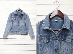 1980's Vintage Blue Washed Out Denim Jacket by by CoverVintage, $32.00