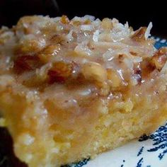 Peach Cake - 4 ingredients - 1Large can Sliced Peaches (drained and mashed), 2cups all purpose flour, 2cups sugar, and 2tsp baking soda.