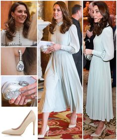 The former Kate Middleton attended the reception at Buckingham palace, marking the anniversary of the investiture Prince of Wales. The Duchess wore a clutch from Alexander McQueen and shoes from Emmy London Official. Duke And Duchess, Duchess Of Cambridge, Simple Dresses, Nice Dresses, Looks Kate Middleton, Princess Katherine, Princess Diana, Divas, Herzogin Von Cambridge