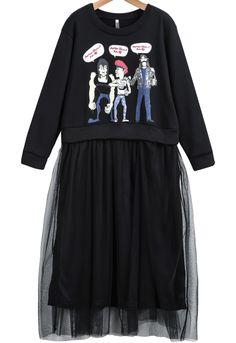 Black Long Sleeve Figure Print Contrast Gauze Dress 17.83