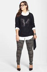 Sejour Poplin Shirt, City Chic Sweater & Camo Cargo Pants (Plus Size)
