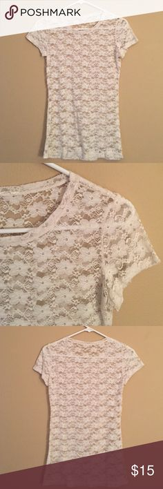 Lace tshirt Lace tight tshirt, never worn! There's no tags on this but I would label it as an xs/s Tops Tees - Short Sleeve