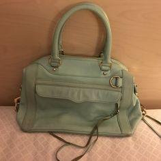 Rebecca Minkoff seafoam tassel purse Minkoff shoulder purse. Seafoam color. Purse has been worn and no signs of wear except sued darkening on tassels. Rebecca Minkoff Bags Shoulder Bags