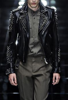 unculturedmag:Burberry Prorsum- Tumbled Leather Studded Biker Jacket (2011)