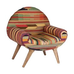 Thar Desert Arm Chair in Vintage Kilim