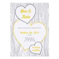 Wood Grain Wedding Invitations - Yellow and Grey
