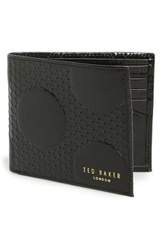 Men's Ted Baker London Embossed Leather Bifold Wallet - Black