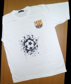 Football T-shirt painting by milind dhavale. This painting include FCB logo and football with surrounded by various moves of players. Boys Shirts, Football Shirts, Tee Shirts, Tees, Fcb Logo, T Shirt Painting, Softball Stuff, Tee Shirt Designs, Tropical Leaves