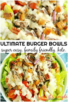 Ultimate Burger Bowls – Keto Low Carb Friendly Whip up this burger bowl recipe for dinner tonight. Keto burger bowls are low carb and fully loaded with flavor! A quick low carb dinner idea. Keto Foods, Ketogenic Recipes, Keto Recipes, Healthy Recipes, Simple Recipes, Healthy Fats, Pork Recipes, Baking Recipes, Vegetarian Recipes