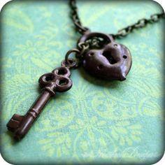 Locked Up Tight: lock and key brass lariat anklet