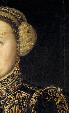 Antonio Moro, Catalina de Austria, wife of Juan III de Portugal 1553 detail Renaissance Kunst, Renaissance Portraits, Renaissance Paintings, Renaissance Fashion, Italian Renaissance, Medieval Jewelry, Detail Art, Art Plastique, Historical Clothing