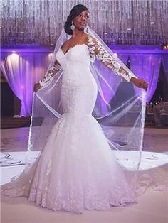 $ 171.89 Ericdress Charming Off The Shoulder Long Sleeves Mermaid Wedding Dress