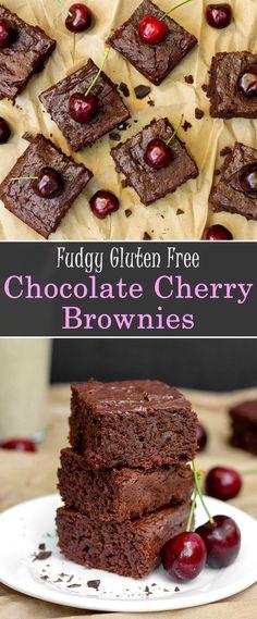 Fudgy Vegan Chocolate Cherry Brownies #vegan #glutenfree #recipe