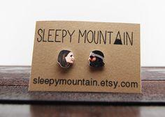 Margot & Richie Tenenbaum Stud Earrings  Wes by SleepyMountain, $9.00 - would love to have some Fantastic Mr Fox earrings too!