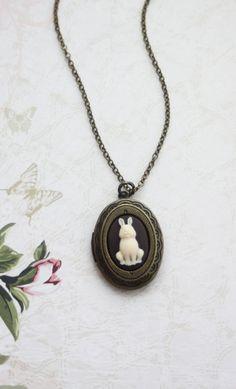 Tiny Rabbit Bunny Cameo Locket Necklace