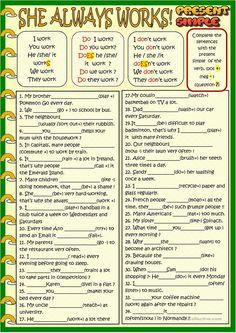 She always works: present simple worksheet - Free ESL printable worksheets made by teachers