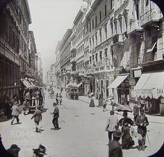 Roma, via del Corso circa). Best Cities In Europe, Italy Pictures, Back In Time, Old City, Roman Empire, Architecture Details, Vintage Images, Old Photos, Rome