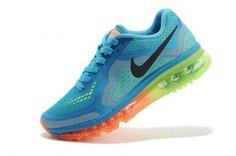 Nike Air Max  Womens Dark Blue Fluorescent Green Orange Shoes