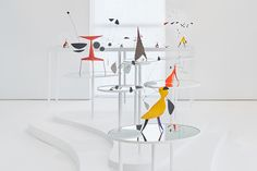 Exhibition presents over forty rare small-scale sculptures by Alexander Calder; Installation view of Alexander Calder. MULTUM IN PARVO at Dominique Lévy in New York. © 2015 Calder Foundation, New York / Artists Rights Society (ARS), New York. Photo: Tom Powel Imaging, Inc. Courtesy: Dominique Lévy Gallery, New York.