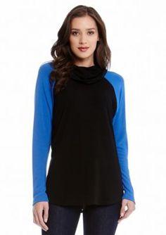 Karen Kane  Colorblock Funnel Neck Sweater