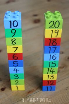 Counting and Measuring with Lego: Preschool Maths Game - Good way to visually compare numbers - I would suggest making the corresponding numbers (like 5 and 15 or 8 and 18) the same color to help see the pattern relationship between the numbers (5 and 15 or 8 and 18 are separated by 10)